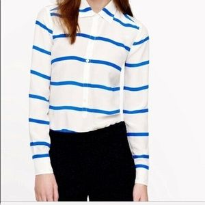 J Crew Horizontal Stripe Popover Blouse 100% Silk